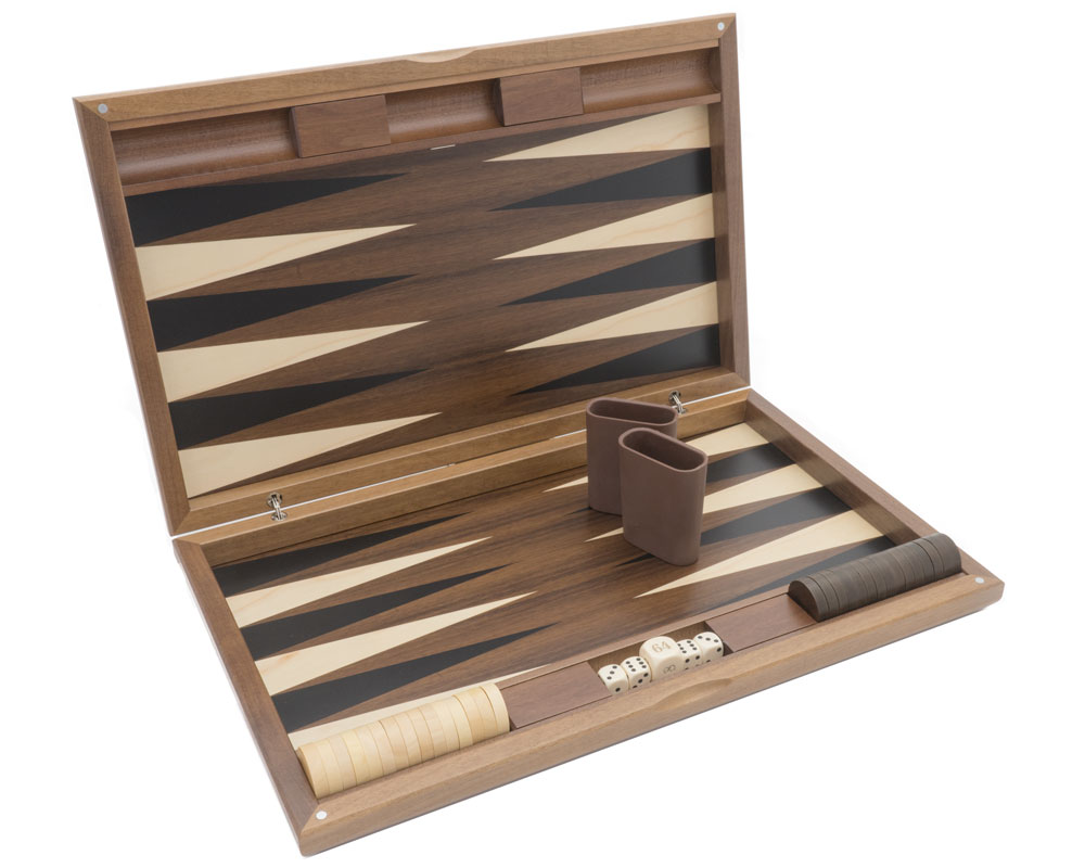 Dal Negro London Walnut and Tulipwood Backgammon