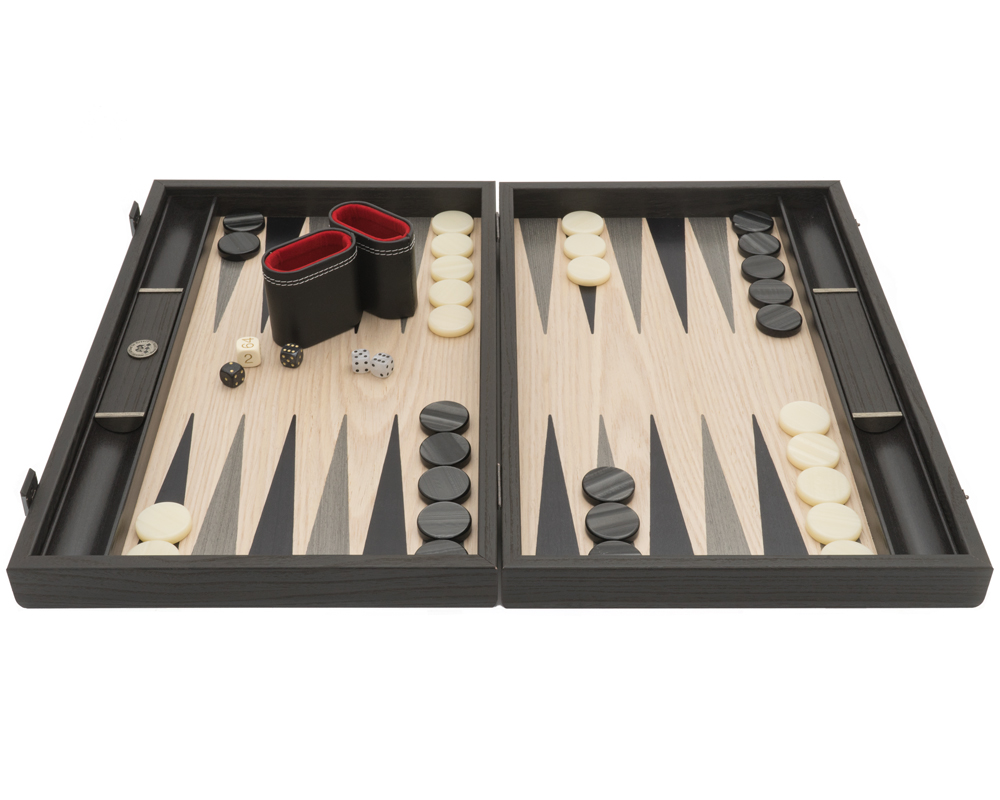 The Manopoulos Grey Oak and Platinum Luxury Backgammon Set with Vinyl Deluxe Cups