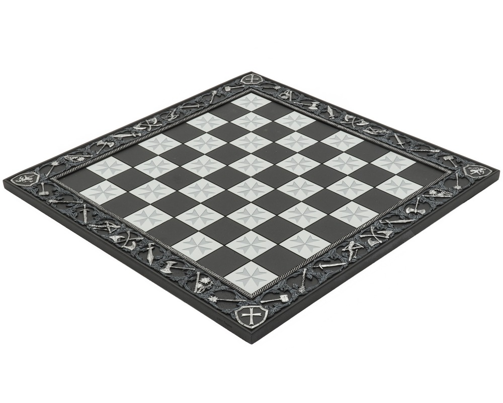 The Templar Hand Painted Solid Resin 17.7 Inch Chess Board by Italfama