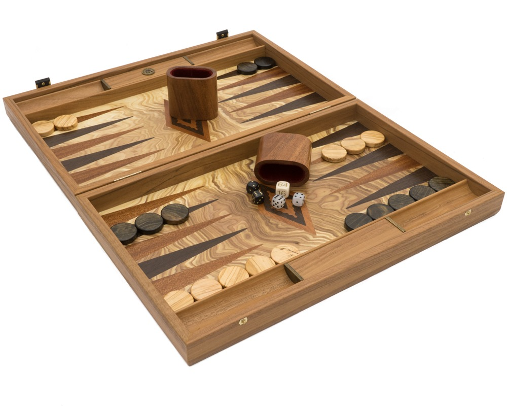 Luxury Olive Wood Burl Backgammon Set by Manopoulos with Luxury Wooden Cups