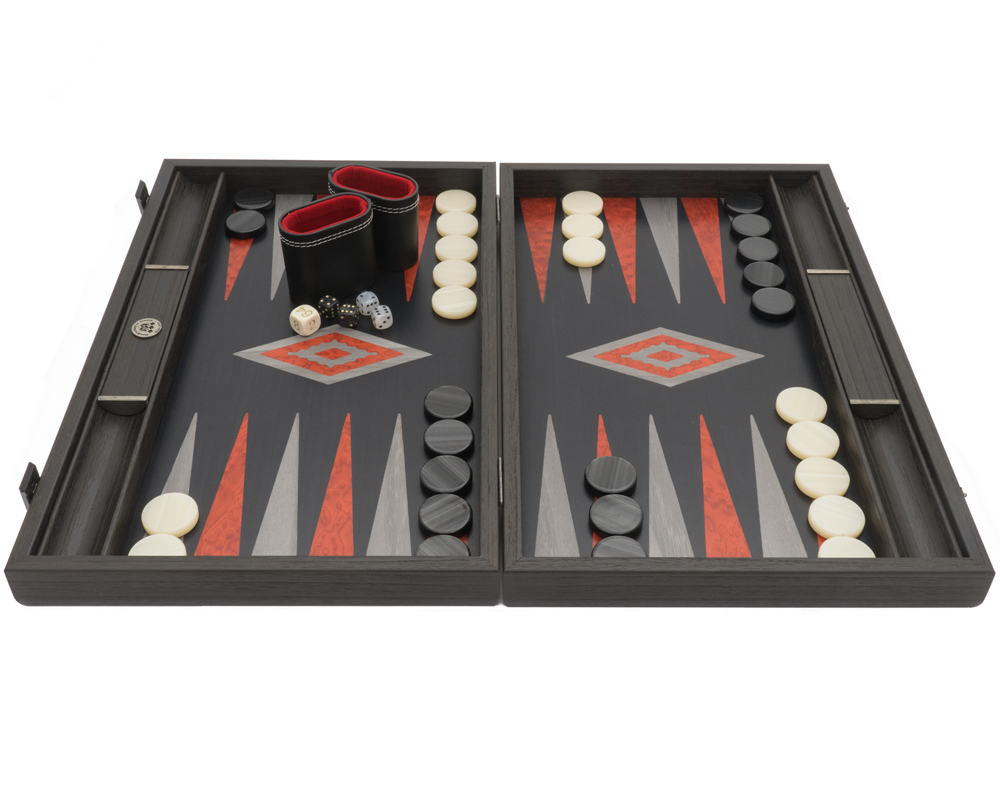 The Manopoulos Black Oak Argento Backgammon Set with Vinyl Deluxe Cups