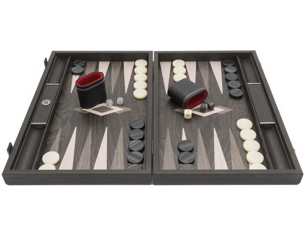 The Manopoulos Ebony and Grey Oak Luxury Backgammon Set with Vinyl Deluxe Cups