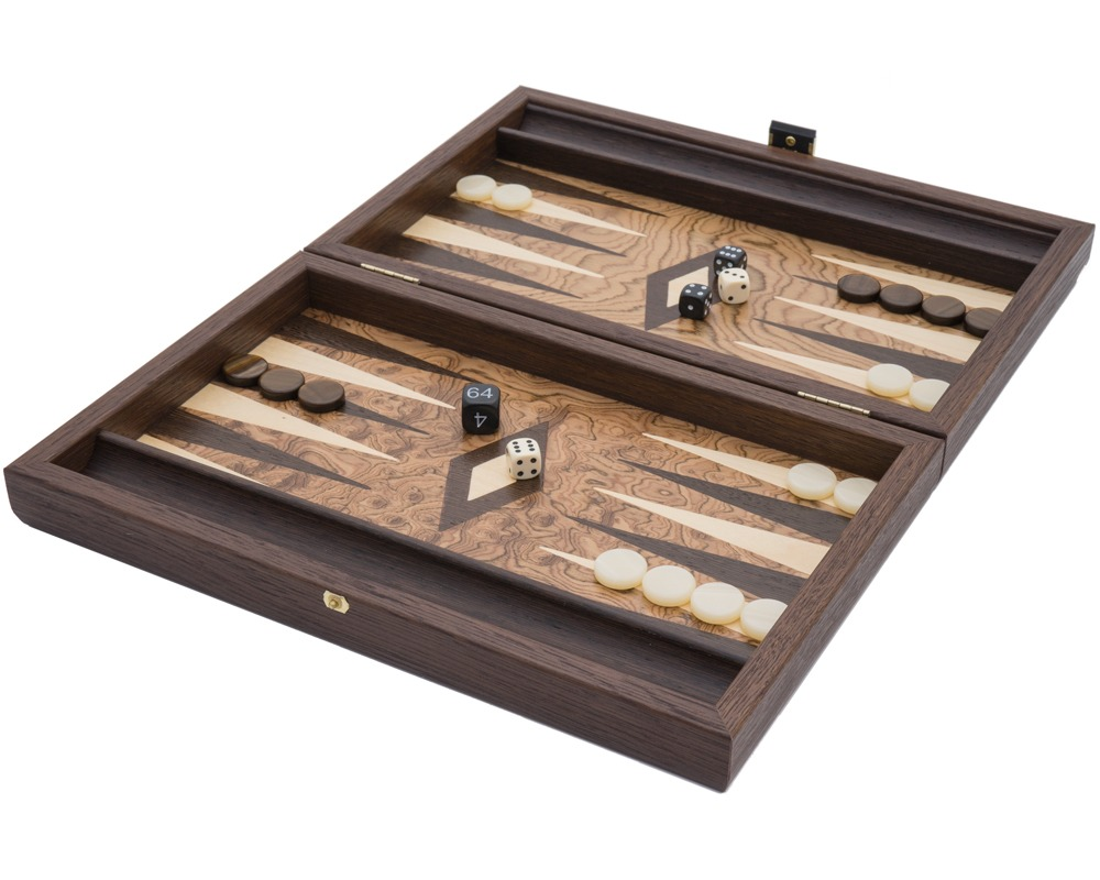 The Manopoulos Premium Walnut Burl and Wenge Backgammon Travel Set