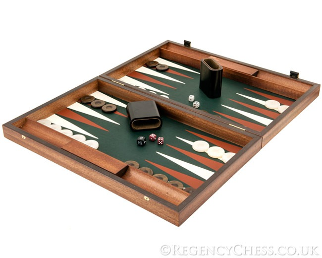 Manopoulos Luxury Green and Mahogany Backgammon Set