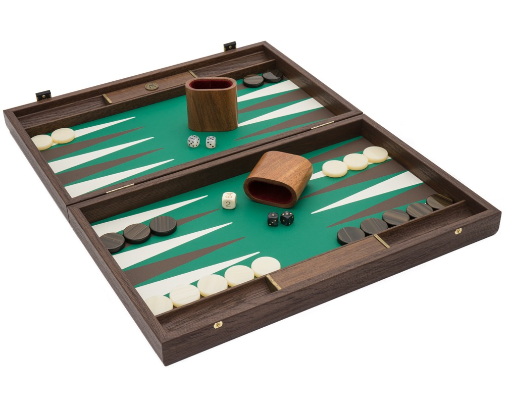 The Manopoulos Luxury Green and Walnut Backgammon Set with Luxury Cups