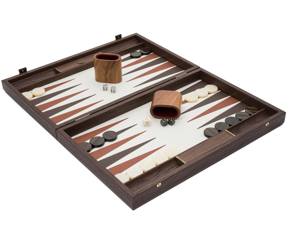 The Manopoulos Luxury Cream and Walnut Backgammon Set with Luxury Cups