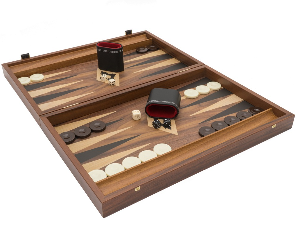 The Manopoulos Walnut Black and Oak Club Large Backgammon Set with Vinyl Deluxe Cups