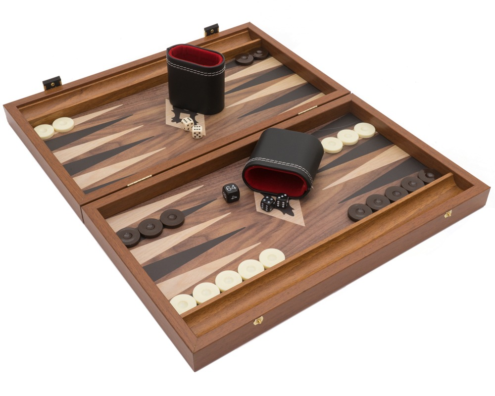 The Manopoulos Walnut Black and Oak Club Compact Backgammon Set with Vinyl Deluxe Cups