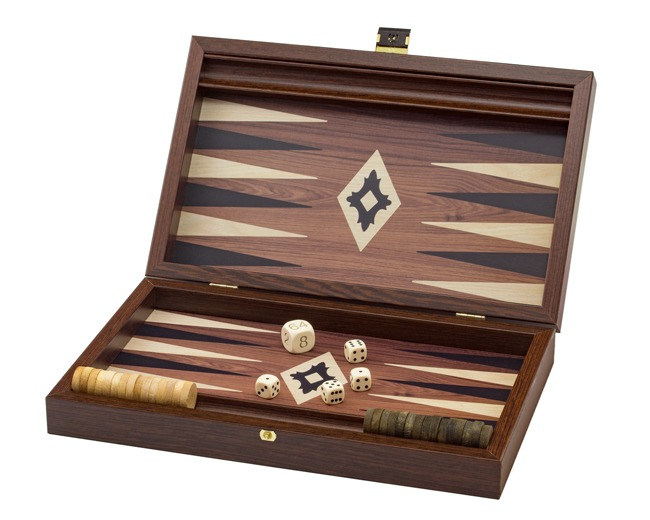 Manopoulos Wenge Travel Backgammon Set