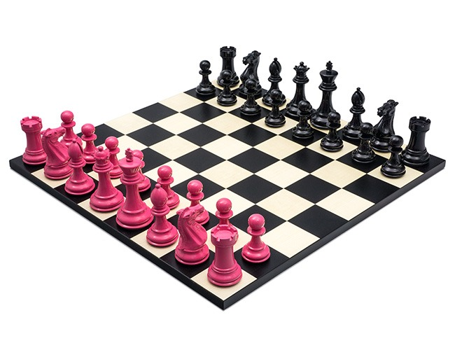 Purling Of London - Bold Chess Set in Hot Pink & Shadow Black