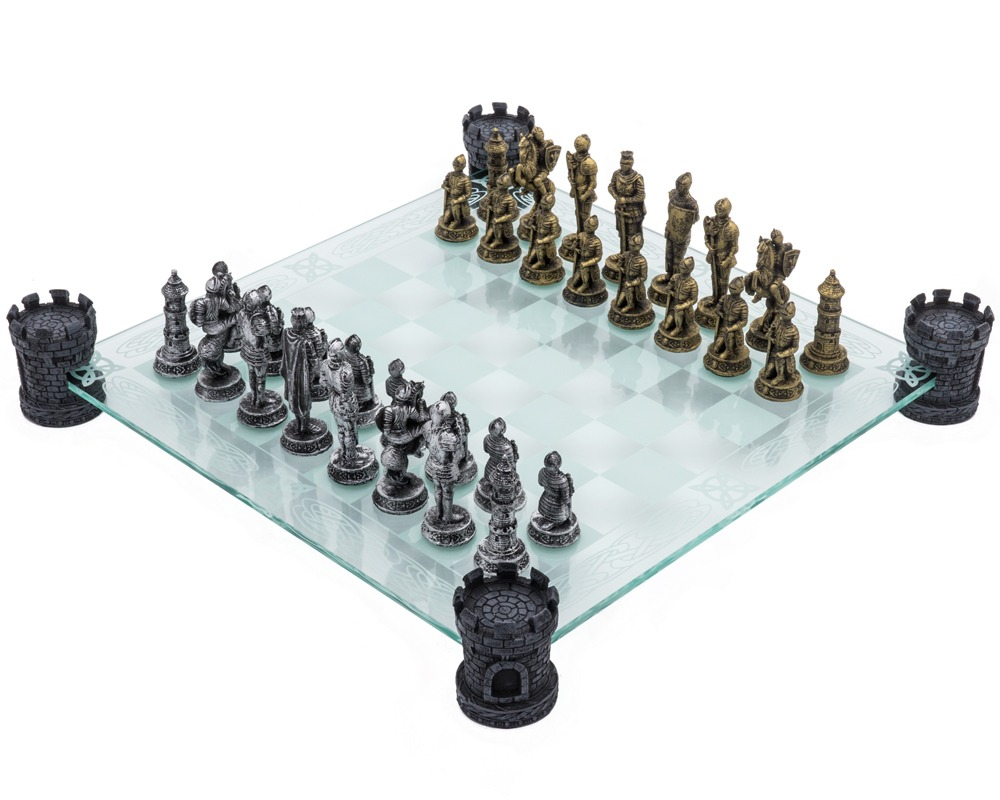 Glass Chess Set   Medieval Knight Edition