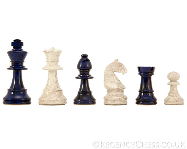Dal Negro Blue and Cream Lacquered Chess Pieces 3 Inches