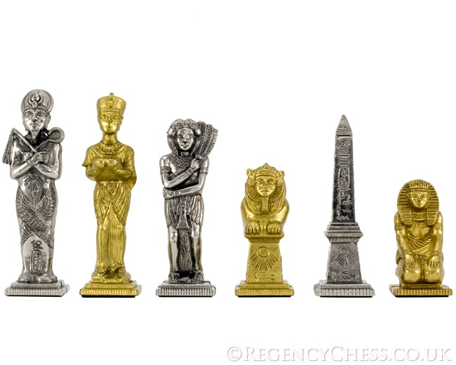 Egyptian Series Brass and Nickel Figurative Chess Pieces