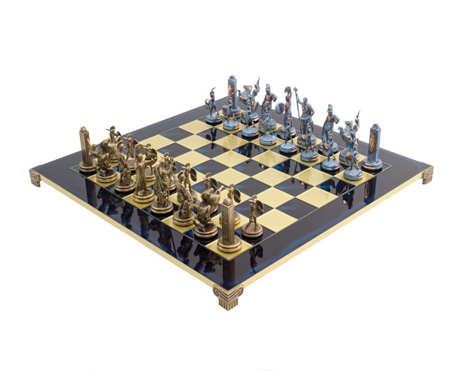 Large Blue Poseidon Greek Chess Set