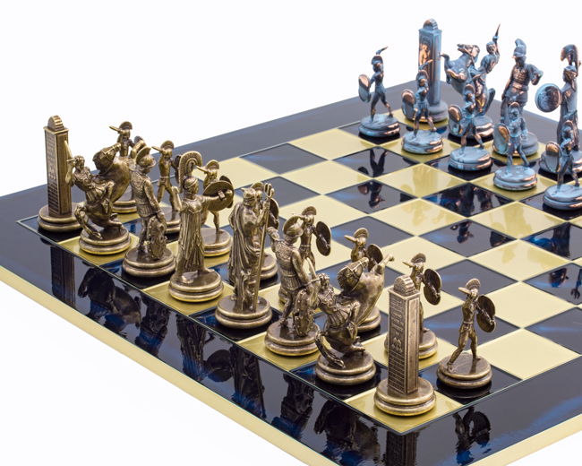 Large Blue Poseidon Greek Chess Set S19 163 322 95 The