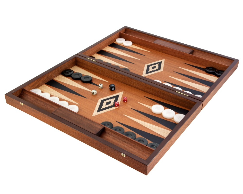 Manopoulos Luxury Mahogany Backgammon Set