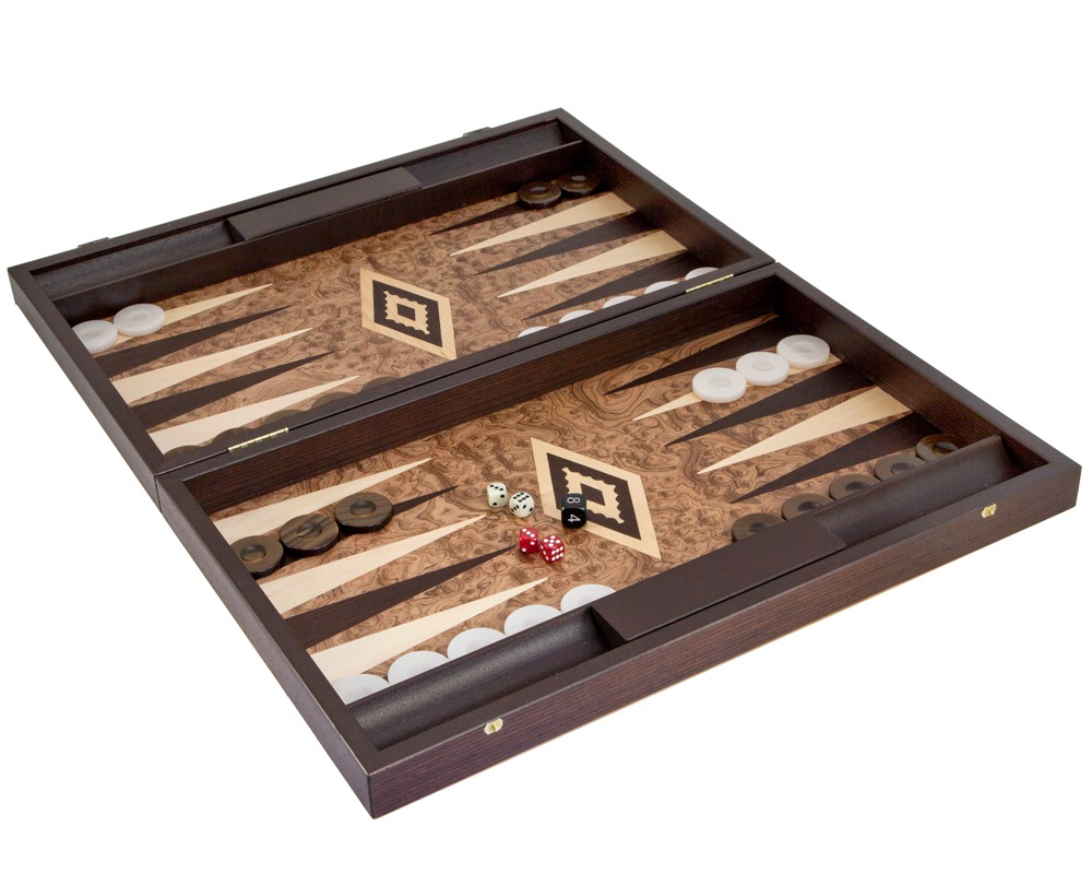 Manopoulos Luxury Walnut Burl Backgammon Set