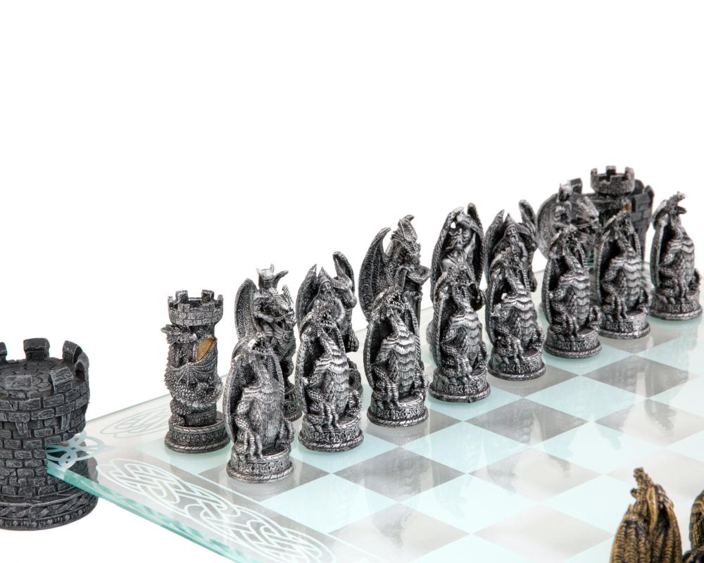 Kingdom Of The Dragon Glass Chess Set Nem5404