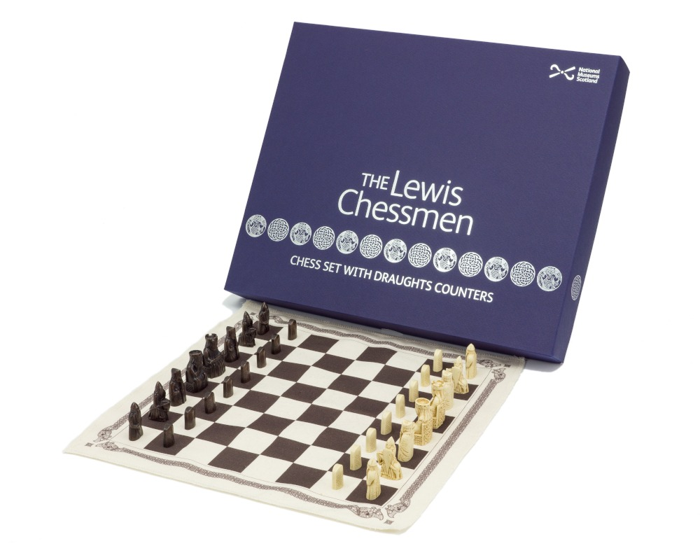 The Isle of Lewis Mini Chess and Draughts Set