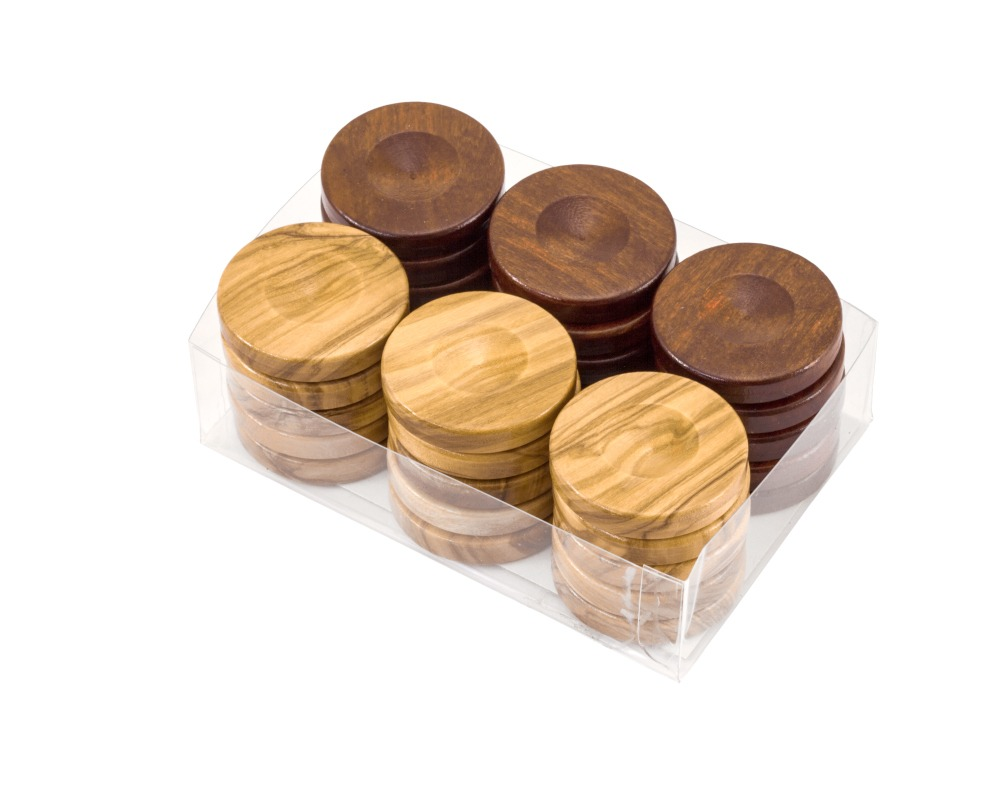 Deluxe Olive Wood Backgammon Stones Natural & Brown 36mm