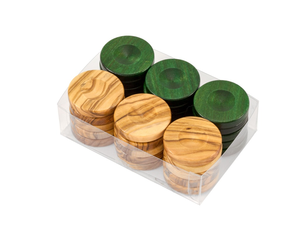 Deluxe Olive Wood Backgammon Stones Natural & Green 36mm