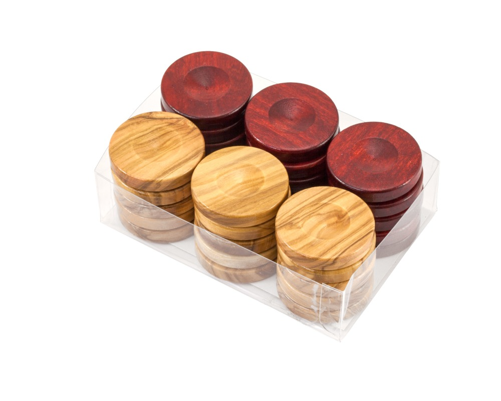 Deluxe Olive Wood Backgammon Stones Natural & Red 36mm
