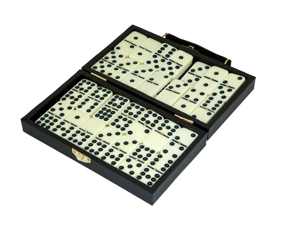 Domino set in leatherette case 55 tiles