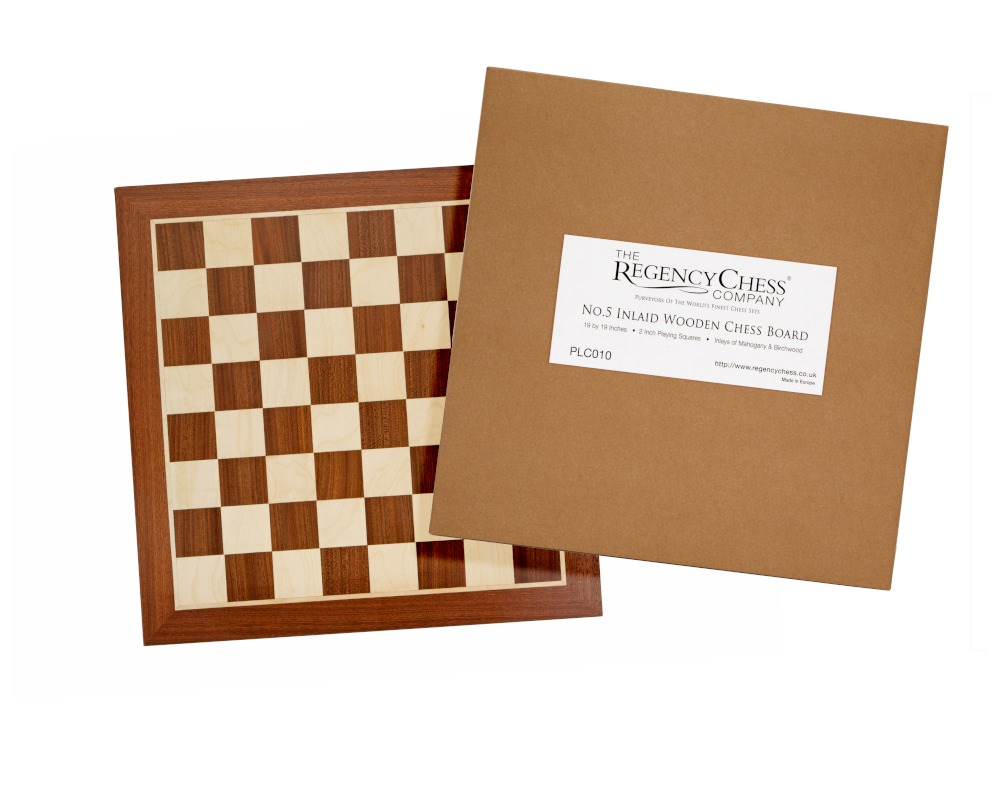 Wooden Chess Board - 19 Inch No.5 Inlaid Mahogany