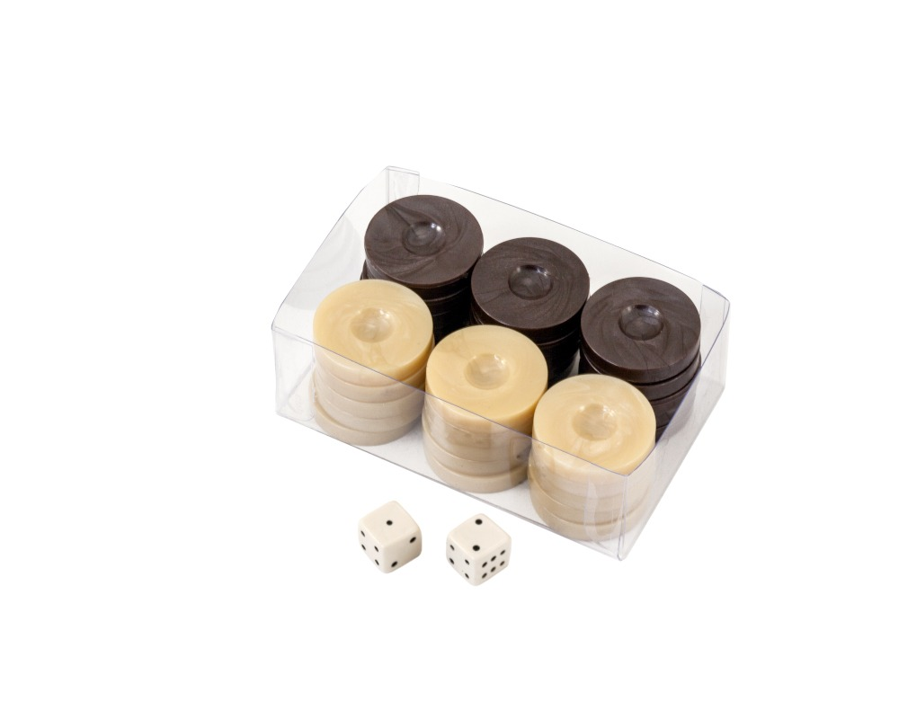 Value Backgammon Stones in Beige & Charcoal 26mm