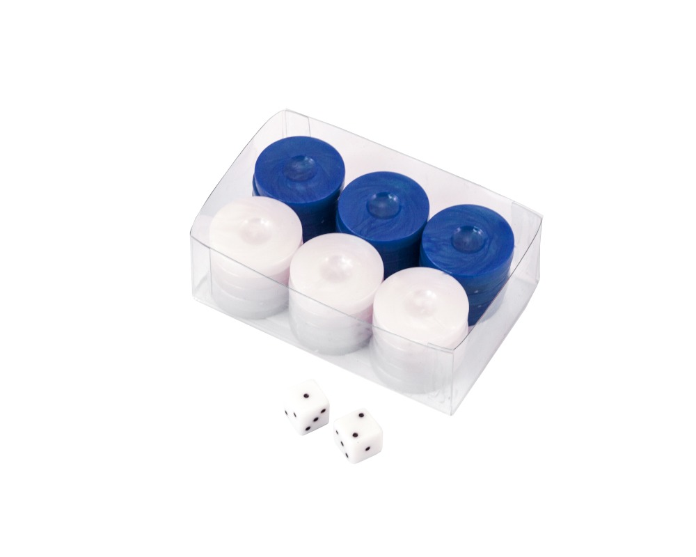 Value Backgammon Stones in Blue & White 26mm