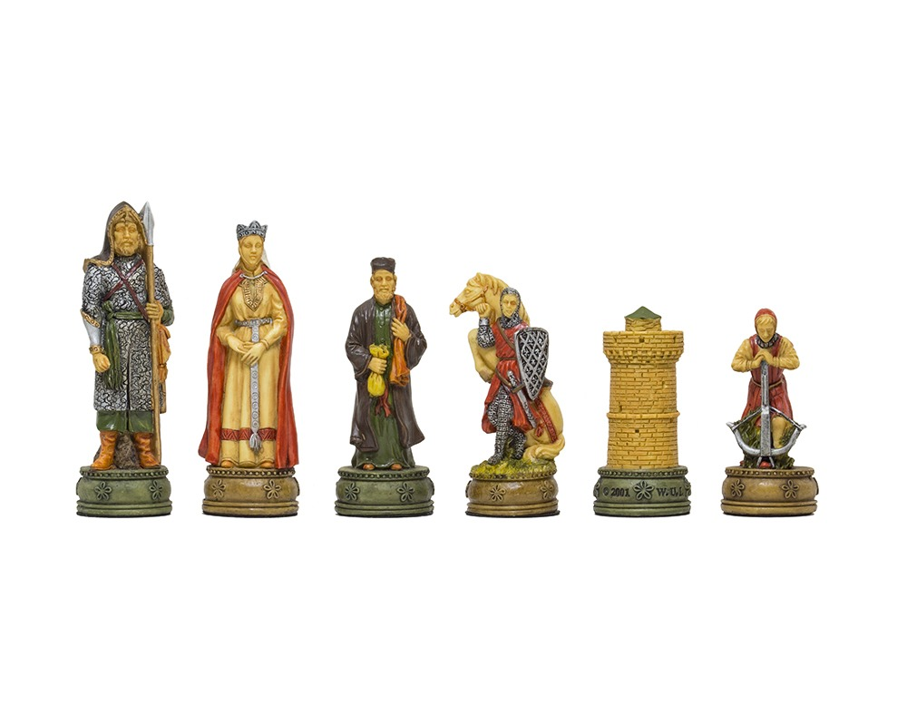 The Camelot Hand painted themed chess pieces by Italfama