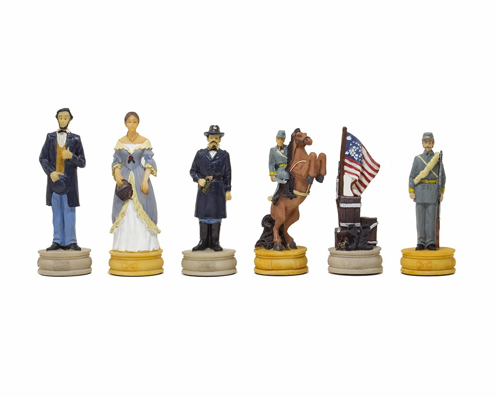 The American Civil War Hand painted themed chess pieces by Italfama 2nd Edition
