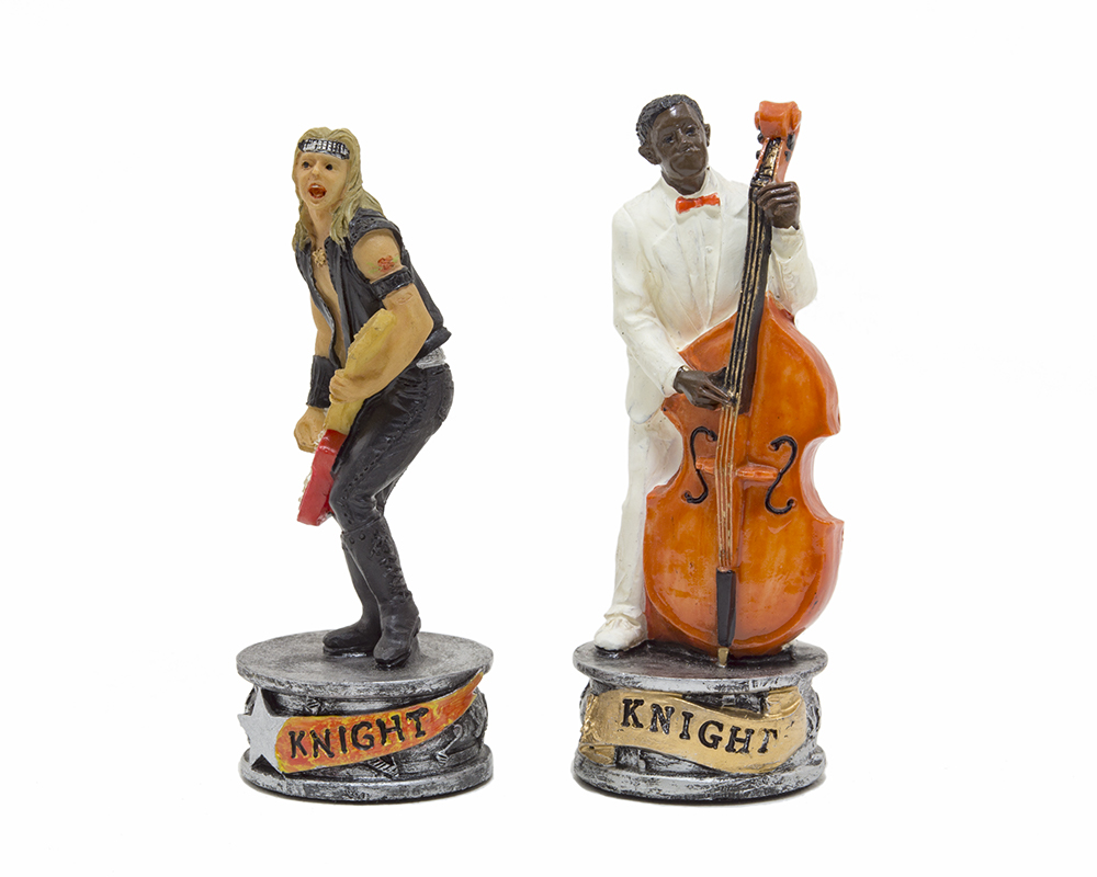 The Jazz Band Vs Rock Stars Hand painted themed chess pieces by Italfama