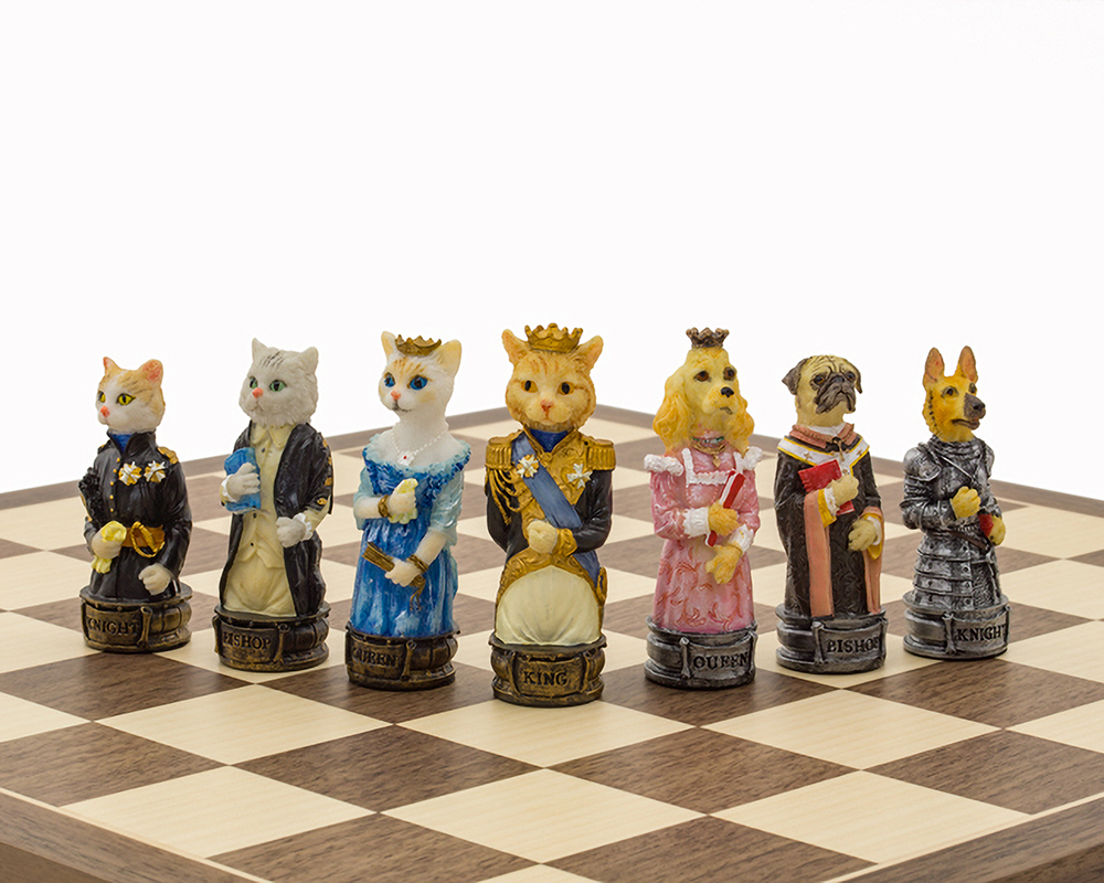 The Cats Vs Dogs Hand painted themed chess pieces by Italfama
