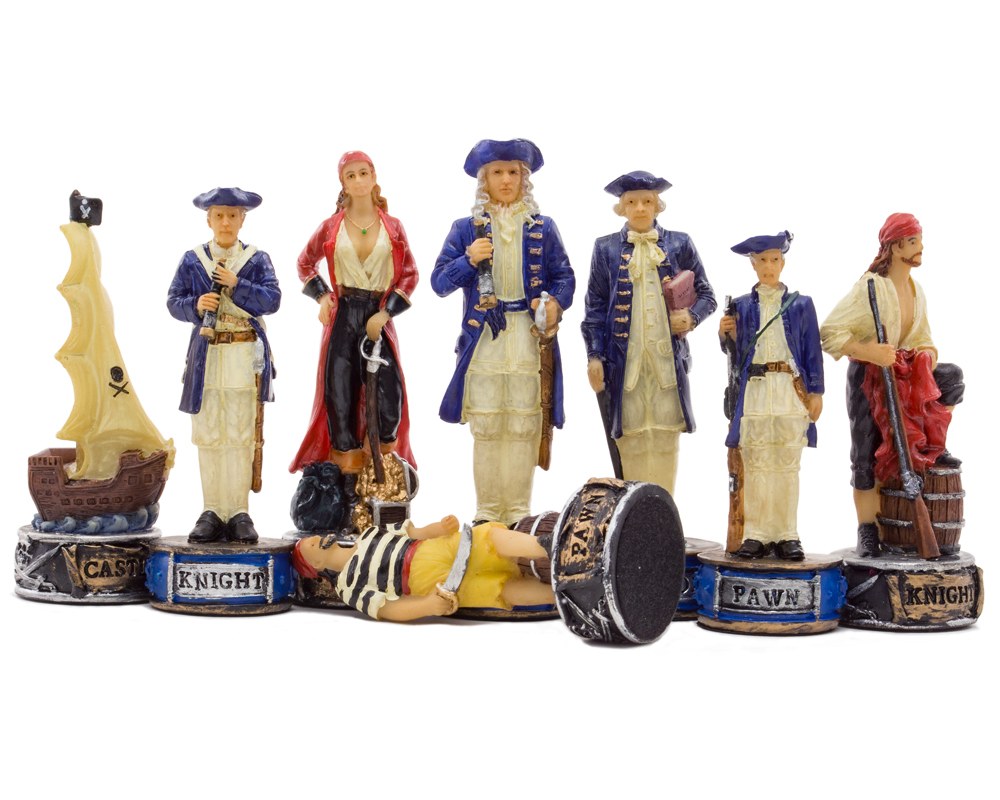 The Pirates Vs Navy Hand painted themed chess pieces by Italfama