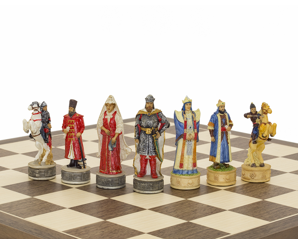 The Russians Vs Mongolians Hand painted themed chess pieces by Italfama