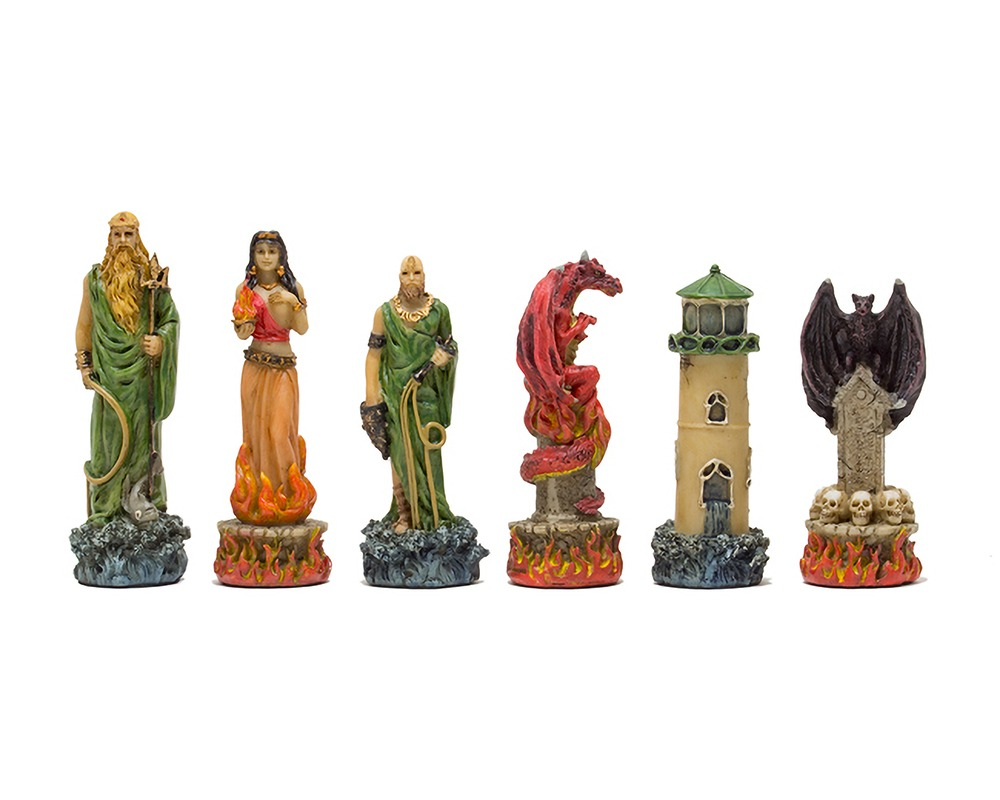 The Water Vs Fire hand painted themed chess pieces by Italfama