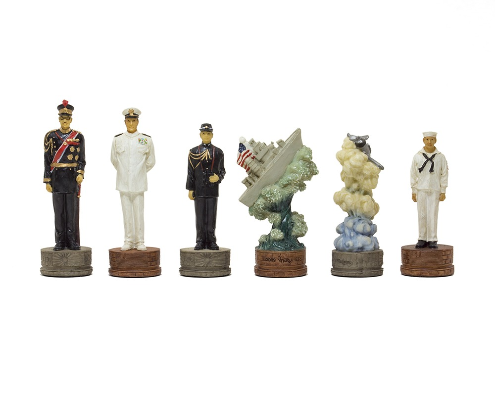 The Pearl Harbour Second world war hand painted themed chess pieces by Italfama