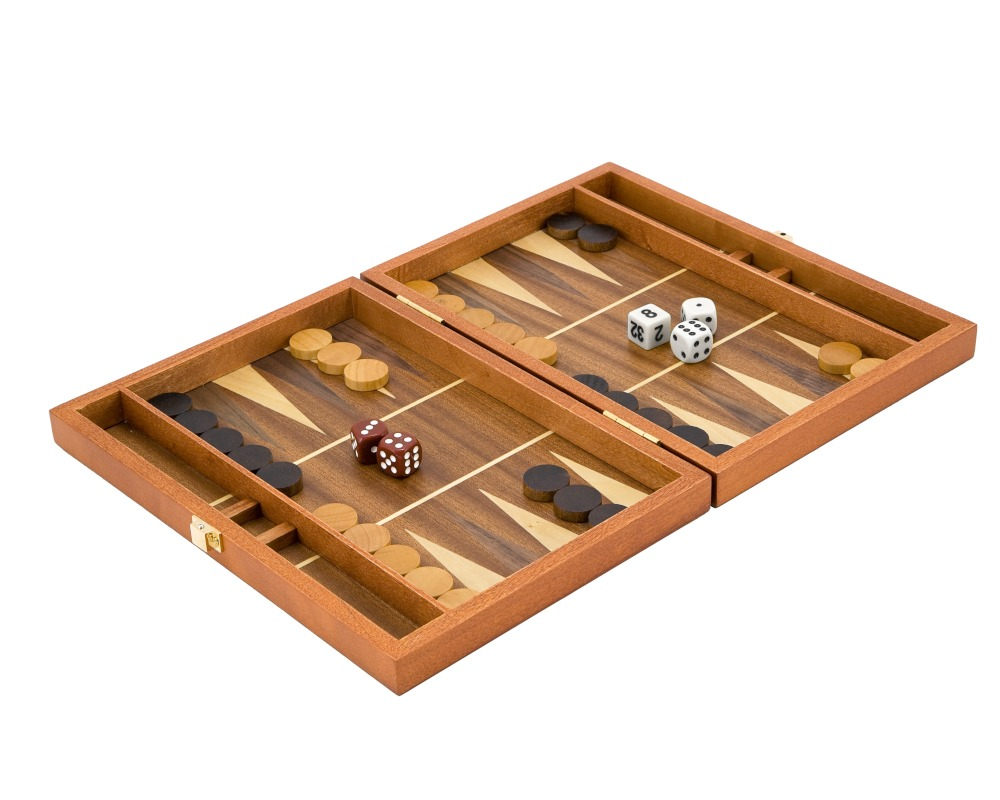 10 Inch Mahogany Travel Backgammon Set with Walnut Inlay
