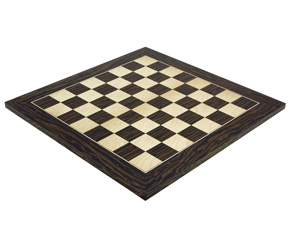 17.75 Inch Tiger Ebony and Maple Deluxe Chess Board