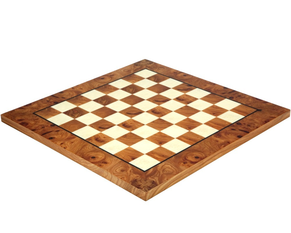 16.75 Inch Briarwood and Elmwood Luxury Chess Board