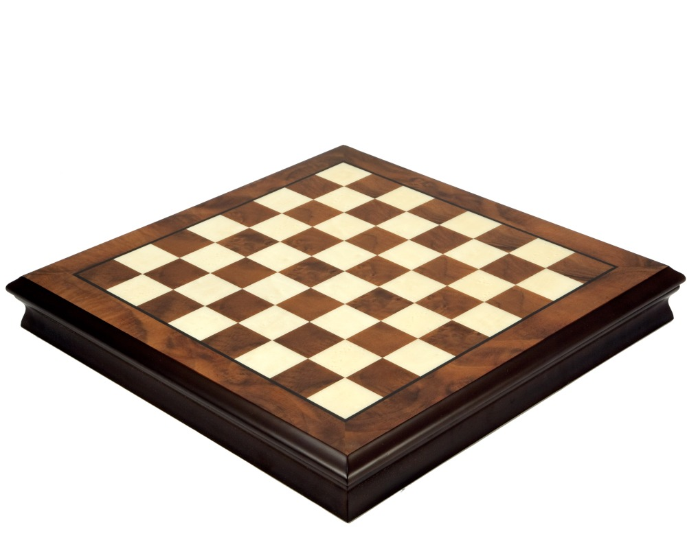 17 Inch Walnut and Maple Chess Cabinet with Removable Lid