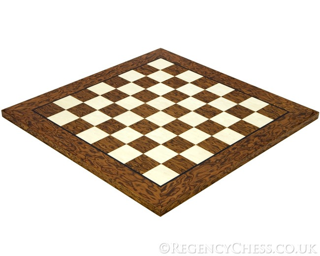 19.7 Inch Lacquered Cocoa Ash Burl and Erable Deluxe Chess Board