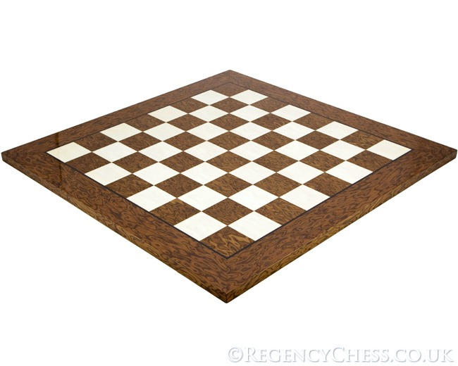 21.7 Inch Lacquered Cocoa Ash Burl and Erable Deluxe Chess Board