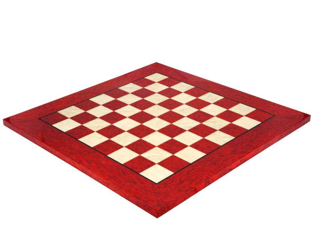 20 Inch Lacquered Red Erable Luxury Chess Board