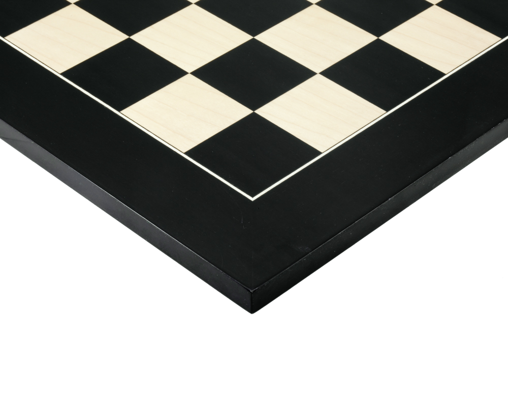 21.7 Inch Gloss Black Anegre and Maple Deluxe Chess Board