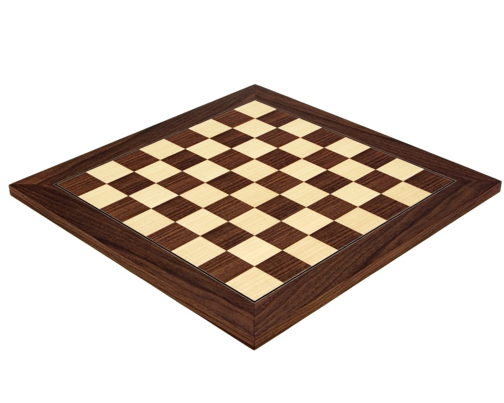 17.75 Inch Montgoy Palisander and Maple Deluxe Chess Board
