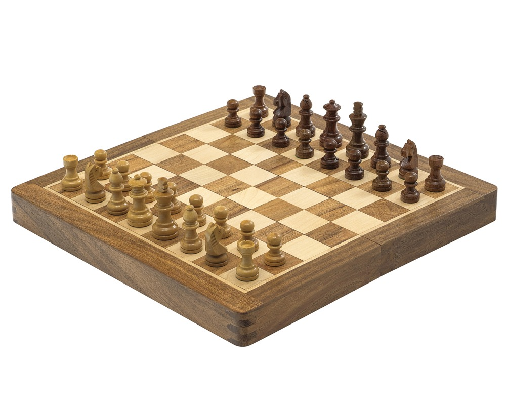 Deluxe Hardwood Folding Travel 10 inch Chess Set - Magnetic