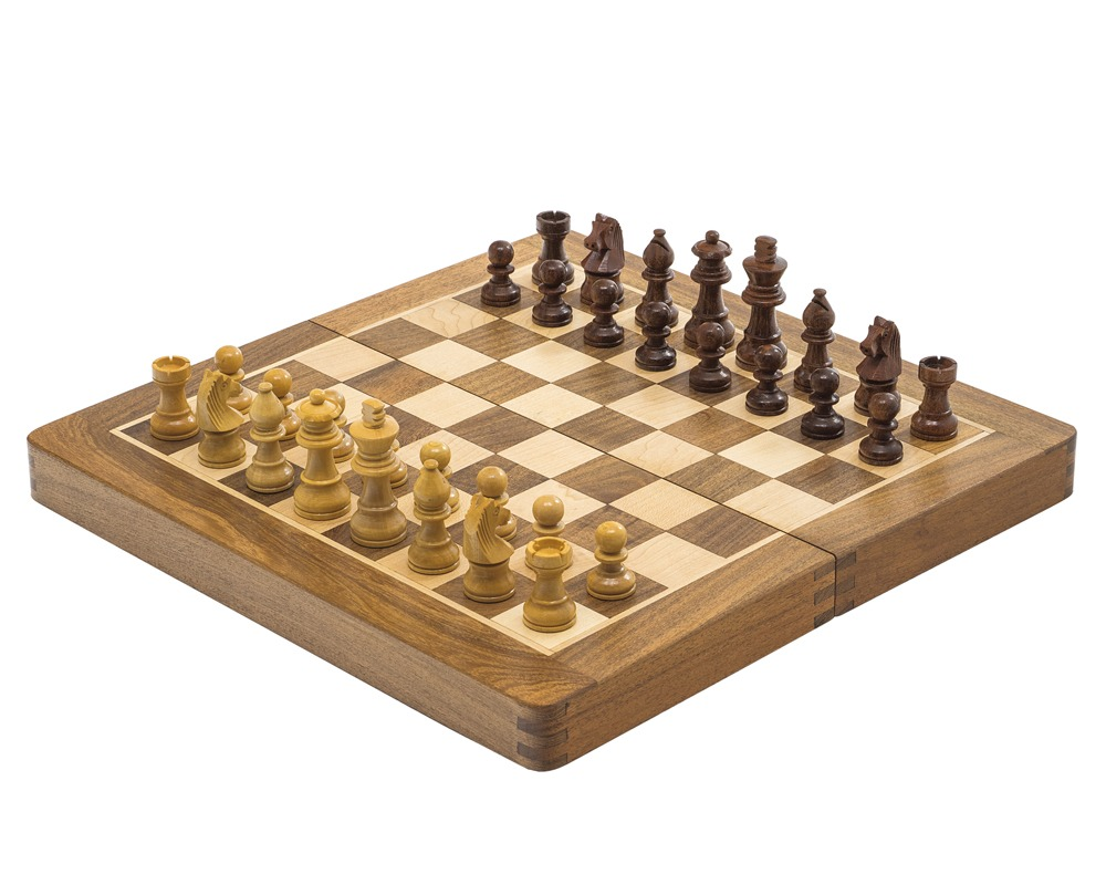 Deluxe Hardwood Folding Travel 12 inch Chess Set - Magnetic