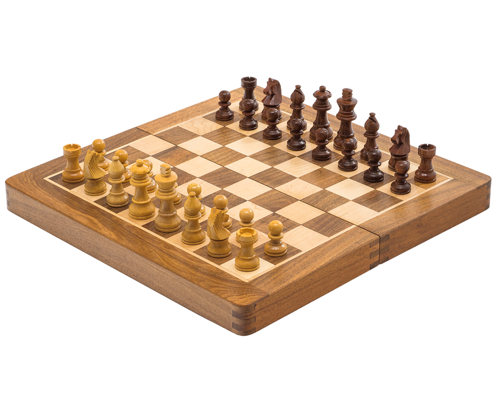 Deluxe Hardwood Folding Travel 14 inch Chess Set